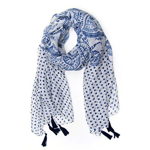 MANUMAR Schal für Damen | Hals-Tuch in blau weiß mit Ornamente Punkte Motiv als perfektes Frühling Sommer Accessoire | Klassischer Damen-Schal | Stola | Mode-Schal | Geschenkidee Frauen und Mädchen -
