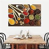 HANSHI Hersent Colorful Spice in Löffel Zusammenkommen, Decor Art Wand die Bild Kunstdruck auf Leinwand Küche Speisewürze Modern Arts Poster Spray Prints Gemälde für Home Wohnzimmern Workshop hgh04