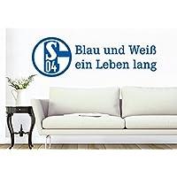 Wall-Art - Wandtattoo, Aufkleber - Schalke 04 Blau und Weiß ein Leben lang - 80x25 cm - Art. Nr. S04-10032