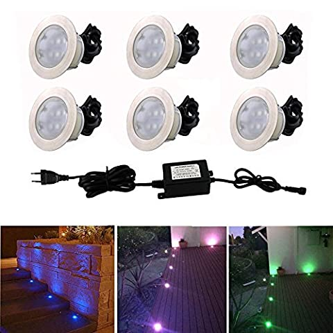 Lot de 6 Lampe LED Encastrable pour Terrasse Couloir RGB/RVB