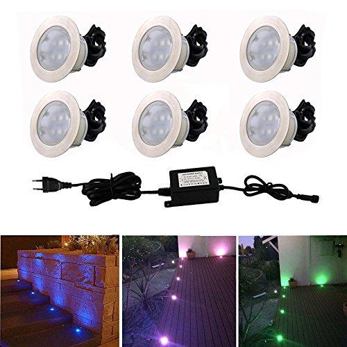Spot Encastrable LED pour Terrasse,Mini Spot Encastré en DC12V IP67 Etanche Ø60mm Acier Inoxydable Exterieur luminaire,Eclairage pour Jardin,Couloir (RGB, 6 KIT)