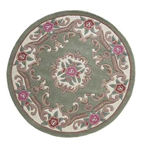 Grande de lana diseño de flores oriental tradicional Alfombra redonda (Verde en calidad de 120x 120cm (4'x 4') Alfombra