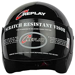 Replay Essex Hit Plain Open Face Helmet with Tinted Visor (Black, M)