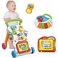 Tikwisdom andador de bebé multifuncional musical sentado a pie aprendizaje andador