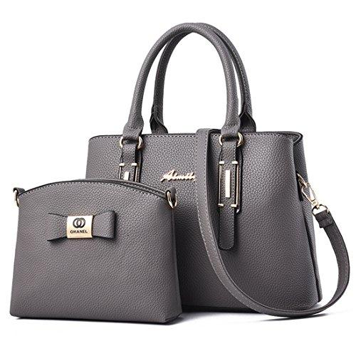 Dunland Signora donna classico Borse Tote 2 pezzi Set borsa borsa Hobo pelle tracolla Messenger A63 Grigio