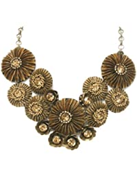 Deepa Gurnani Hand Embroidered Brass Sequins, Golden Crystals in Metal Chain with Suede Lining Necklace