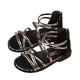 Sandalias NiñA ZARLLE Sandalias Romanas con Cremallera Y Sandalias Infantiles Kid Boot Beach Princess Shoes Bebé NiñA Verano Zapatos Planos Zapatillas De NiñAs Princesa Sandalias De Playa (29, Plata)