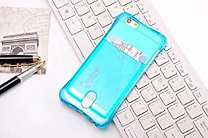 FONOVO Soft Silicone Transparent Back Cover Case for Apple iPhone 6/6s (Blue)