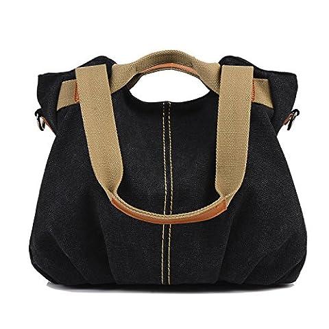 LOSMILE Women's Vintage Canvas Shoulder Bag Purse Top-Handle Hobo Tote Handbags Crossbody Shopping Bags (Black)