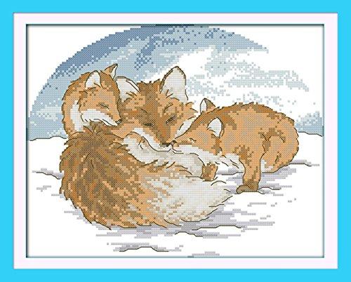 captaincrafts Hots Kreuzstich Kits Mustern Stickpackung-Snow Fox WHITE (Snow White Bilderrahmen)