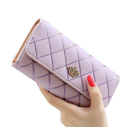 Woolala Donne Ragazze Elegante Portafogli Corona Grande Capacità Frizione Lunga Borsa Per Il Partito, Shopping E Viaggi, Giallo Purple