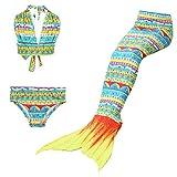 Maillots de bain loisirs sirène maillot de bain deux pièces Bikini 3pcs définit baignade spa Jeunes filles Cosplay Halter cou (vert jaune, 130)