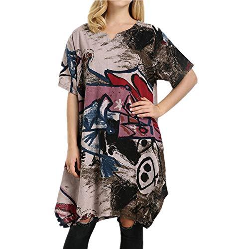 kolila Damen V-Ausschnitt Ethno Stil Gedruckt Lace Stitching Kurzarm Midikleid Sommer Kühler Leinen Tunika Kleider(Grün,2XL) -