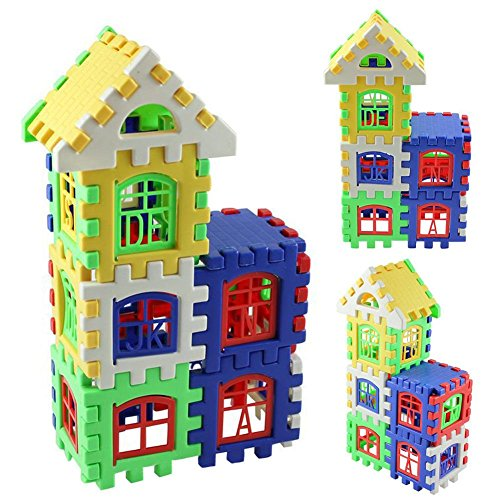 Sunsoar 24pcs Baby Kid Children House Building Blocks Construction Toy Birthday Chriamas New Year Gift Toy Puzzle Education Learning