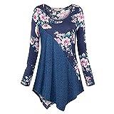 VEMOW Sommer Herbst Elegant Damen Oberteil Langarm O Neck Printed Flared Floral Beiläufig Täglich Geschäft Trainieren Tops Tunika T-Shirt Bluse Pulli(A-Blau, EU-42/CN-L)