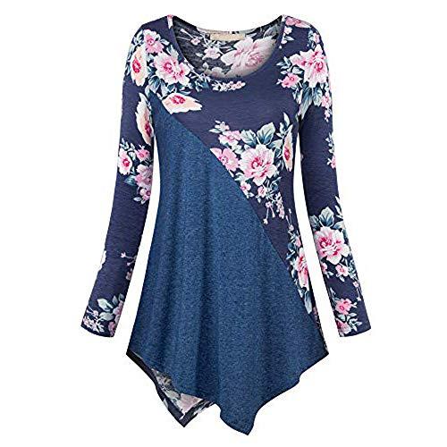 VEMOW Sommer Herbst Elegant Damen Oberteil Langarm O Neck Printed Flared Floral Beiläufig Täglich Geschäft Trainieren Tops Tunika T-Shirt Bluse Pulli(A-Blau, EU-38/CN-S)