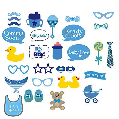 12 Stücke Baby Dusche Foto Requisiten, Baby Blau Foto Stand Requisiten Neugeborenen Jungen Geschenk Party Dekorationen