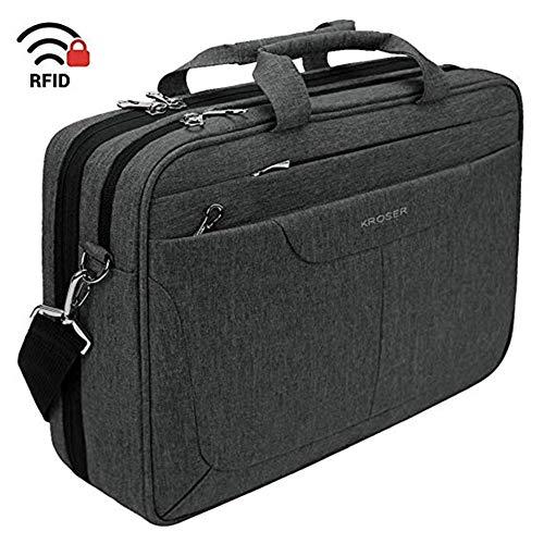 ZHAIFENGFENG1 Laptop-Tasche 15,6-Zoll-Aktentasche Laptop-Umhängetasche Wasserabweisende Computer-Tasche Tablet-Hülle mit RFID-Taschen für Schwarz
