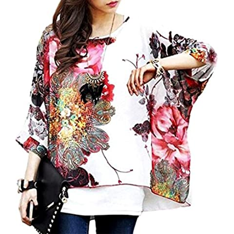 Blusa de talle ancho hecho de gasa y con estampado floral blanco 005 – Moda femenina para la mujer mws1825