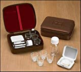 Cross Detail Faux Leather Lined Box 4 Cup Portable Minister Travel Communion Set by AutoM