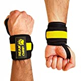 BEAR GRIP - Premium Weight Lifting Wrist Support Wraps, (Sold in pairs) (Yellow)