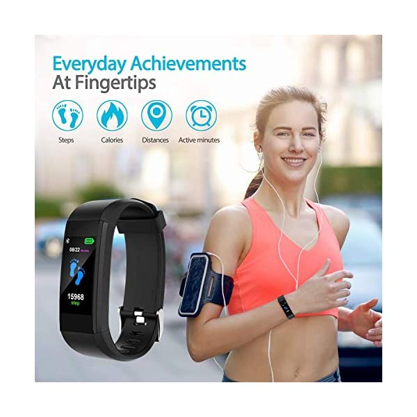 F-FISH Fitness Tracker Waterproof, Activity Tracker Watch con monitor de ritmo cardíaco, banda inteligente con monitor… 3