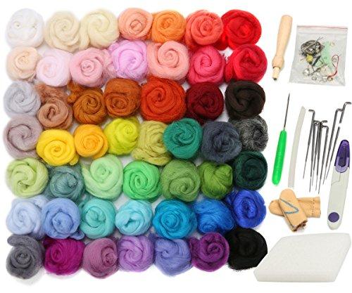 Jeteven 50 Farben Filzwolle Märchenwolle geeignet für Nassfilzen und Trockenfilzen & Werkzeug Set, Handarbeitsset
