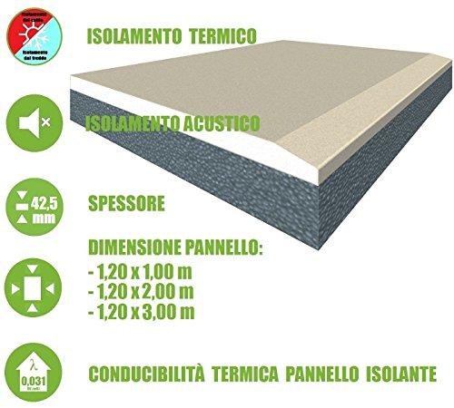 ITALFROM - Pannello Accoppiato da 42,5 mm Cartongesso + EPS con Grafite Isolamento Termico Acustico (Pannello da 1,20 m x 3,00 m)