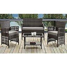 Madrid - Set di 4 mobili da giardino in rattan, impermeabile, con divano, sedie imbottite e tavolo da veranda in stile contemporaneo, per esterni
