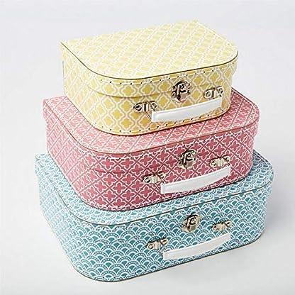 Aufbewahrungsboxen-mit-marokkanisch-geometrischem-Muster-von-Sass-Belle-Koffer-in-Blau-Pink-und-Gelb-3er-Set