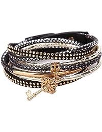 2f648bcf0fa La Cabina Femme Bracelet Bijou Fantaisie Mode avec Pendentif Forme de Clé  Décoration Bracelet de Poignet