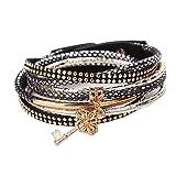 La Cabina Femme Bracelet Bijou Fantaisie Mode avec Pendentif Forme de Clé Décoration Bracelet de Poignet Bangle en Alliage Multi-couche...