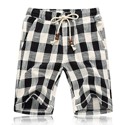 Hangyin Summer Men's Shorts Fashion Casual Bermuda Plaid Shorts Pure Cotton Straight Loose Beach Shorts Clothing