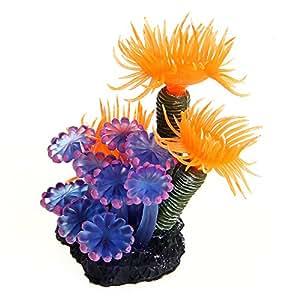 aquarium kunstpflanze k nstliche wasserpflanze koralle harz deko blau orange haustier. Black Bedroom Furniture Sets. Home Design Ideas