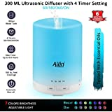 Allin Exporters 2 in 1 Ultrasonic Diffuser and Humidifier 7 Different Colourful LED Light Modes Water Tank, 300ml (AED_Diffuser_002)