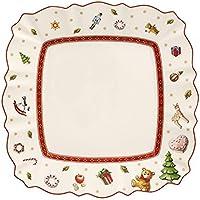 Villeroy & Boch Toy's Delight Plato de Desayuno Rectangular, 22 x 22 cm, Porcelana Premium, Blanco/Rojo