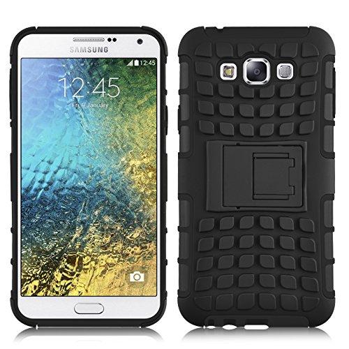JAMMYLIZARD Outdoor Hülle für Samsung Galaxy E5   Schutzhülle [Alligator] Doppelschutz Handyhülle Hardcase aus Polycarbonat & Silikon Backcover Lifeproof Case Cover, Schwarz