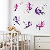 WandSticker4U- 6 tlg. Set: Zauberfeen in violette & pink | Wandtattoo Mädchen Prinzessin Sterne Mond Fee Engel Elfen Fairy | Wandsticker Aufkleber-Wand-Deko für Kinderzimmer Tür Schrank Mädchenzimmer