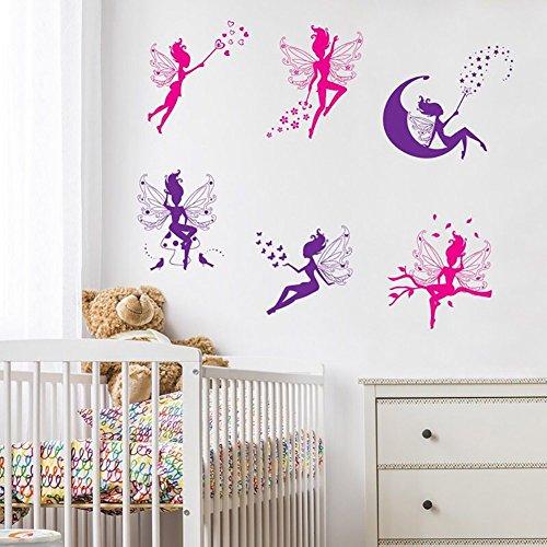 WandSticker4U- 6 tlg. Set: Wandsticker Zauberfeen in Violette & Pink | Wandtattoo Fee Elfen Wand-aufkleber Märchen Prinzessin Mädchen Sterne Mond Fairy | Deko fürs Kinderzimmer Mädchenzimmer Möbel Tür