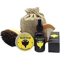 Bartpflege Set Bart Geschenk Set 4 Pcs Für Männer - Bartbürste (Wildschweinborsten) + Bartkamm (Acajou) + Naturelle Bart Balsam + Naturelle Bartöl