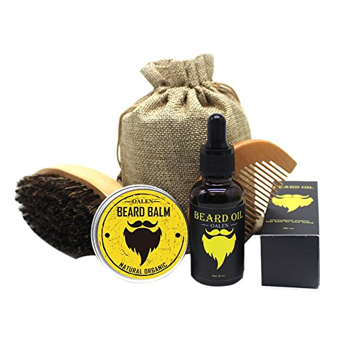 beard care kit beard trimming kit beard grooming kit for men(boar bristle brush,wooden comb, unscented beard oil 30g, beard balm butter wax 30ml,stainless steel scissors) gift set- 7pcs