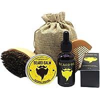 Kit de cuidado de la barba para hombres: cepillo de barba, peine de barba, aceite de barba natural y bálsamo de barba natural – Kit de regalo perfecto