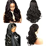 Helene Glueless Lace Front Wigs Long Natural Body Wave Swiss Natural Black Synthetic Lace Front Wig Natural Hairline Heat Resistant Fiber Lace Wigs For Women (24Inch Black Color)