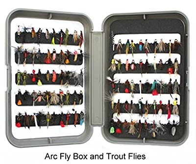fly fishing tackle fly box and 100 trout flies - Christmas fishing present by brytec