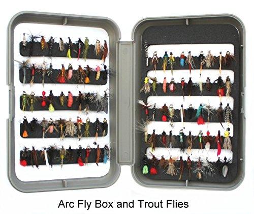 Angelzubehör für Fliegenfischen, mit Box und 100Fliegen für Forellenangeln–ideales Weihnachtsgeschenk