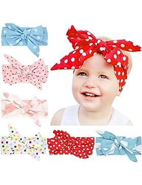 ARAUS Emitha 6 Paquete Recién Nacido y Bebés Arco del Pelo Venda Elástico Turbante 0-6Años