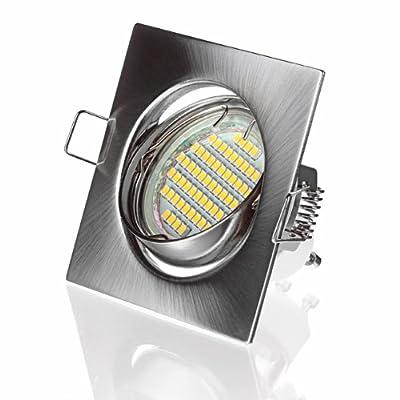 Einbau Rahmen quadratisch 60 SMD LED Leuchte Einbaustrahler 230V als Komplett-Set, nichtrostend von Sweet Led auf Lampenhans.de