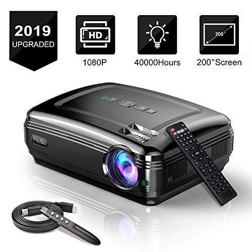 "Video Beamer mit Einem Presenter,3300LM Full HD 5.8"" LCD Videoprojektor 20000: 1 Kontrast 1080P HDMI USB VGA SD Card AV für Office Heimkino Kompatibel mit Fire TV Stick Chromecast Schwarz …"