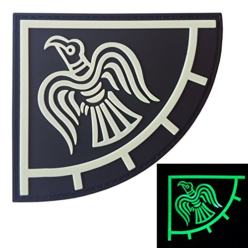 2AFTER1 Glow Dark Rare Norse Viking Raven Banner Odin God of War Morale PVC Rubber 3D Touch Fastener Patch