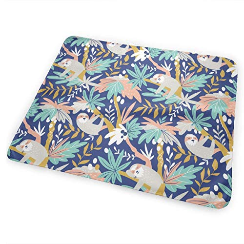 Voxpkrs Sleep Sloth Diaper Change Pad Portable and Foldable Changing Mat 25.5 x 31.5 Inch (Mat Teal Dusche)